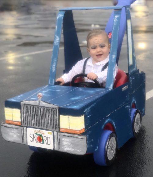 Snowbird in a Cadillac Coupe Deville