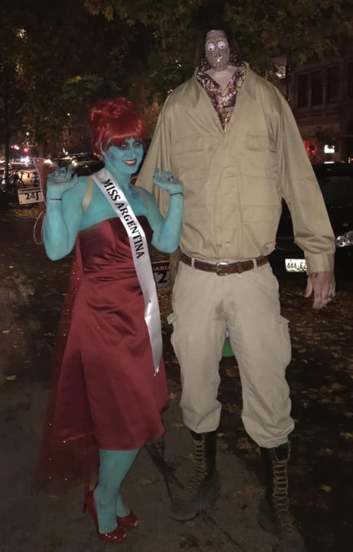 Miss Argentina and Shrucken Head Guy from Beetlejuice